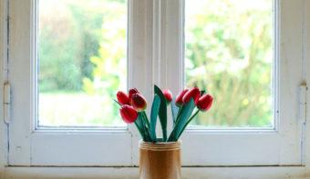 flowers by wood window